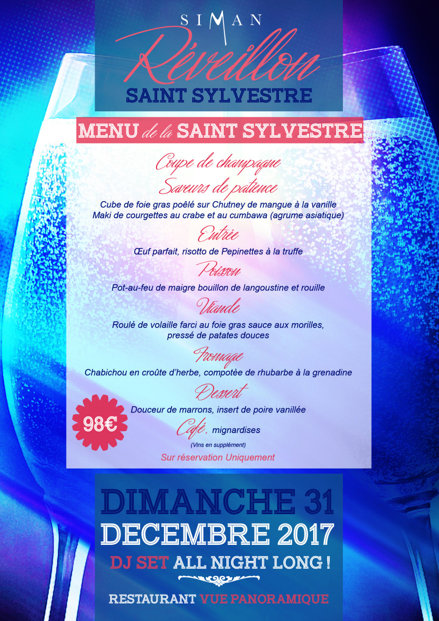 MENU RÉVEILLON 2017  RESTAURANT PANORAMIQUE