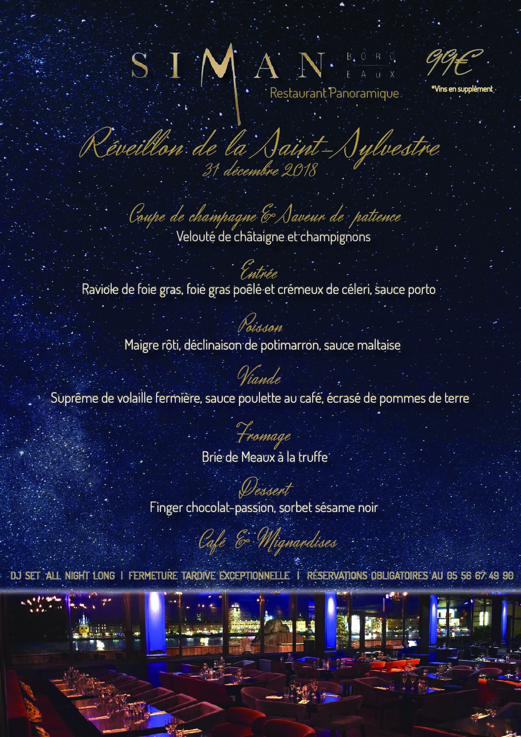 MENU DE LA SAINT-SYLVESTRE – RESTAURANT PANORAMIQUE
